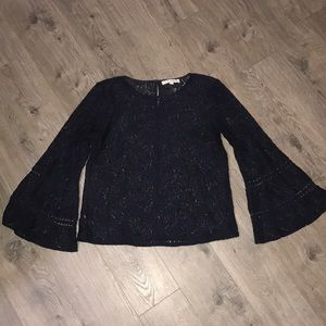 Navy Blue Full Lace Shirt with Bell Sleeves